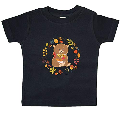 (inktastic - Thanksgiving Wreath Woodland Bear Baby T-Shirt 6 Months Black 31def)