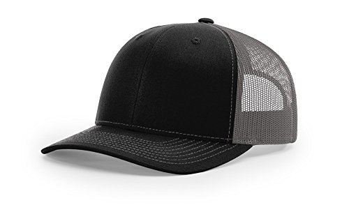 Richardson 112 Trucker OSFA Baseball Hat Ball Cap, Black/Charcoal -