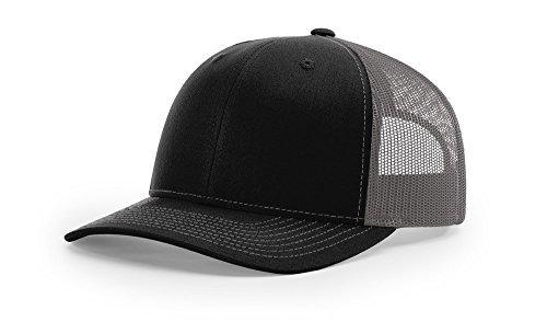 - Richardson 112 Trucker OSFA Baseball Hat Ball Cap, Black/Charcoal