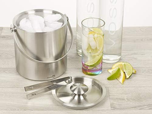 Homiu Eiskübel mit Deckel und Zange Edelstahl Doppelwand 1,5 oder 2 Liter Behälter Würfel Dicker Eimer mit Pinzette (2L)
