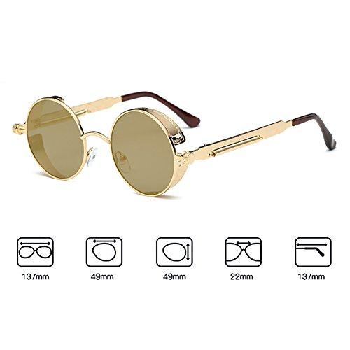 de gótico vintage para metal UV400 espejo redondo de retro sol C13 Steampunk hombres gafas mujeres Juleya gafas dTpFxYqY