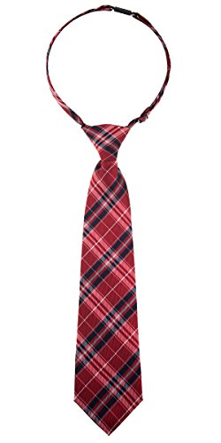 Retreez Stylish Plaid Checkered Woven Microfiber Pre-tied Boy's Tie - Red and Navy Blue - 4-7 years by Retreez