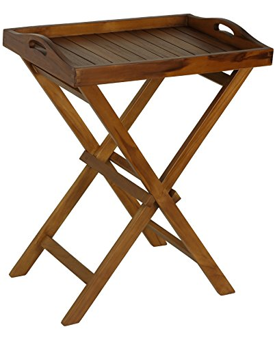 Bare Decor Kalos Outdoor Solid Teak Wood Tray Table, 30-Inch, Brown - Genuine solid teak wood (Tectona grandis) is naturally mildew and mold resistant Indoor or outdoor use (shower, spa, sauna, balcony, deck, RV, patio, lawn) Light removable tray with handles 5lbs - patio-tables, patio-furniture, patio - 417xW9RYiYL -
