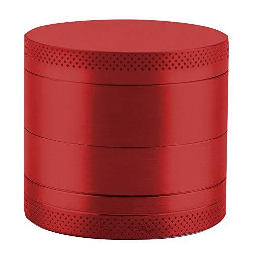 (Afiken Spice Herb Grinder, 4-in-1 Grinder with Pollen Scraper, Premium Zinc Alloy Crusher with Razor-sharp Teeth (Red))