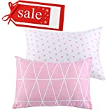 """Kids Toddler Pillowcases UOMNY 2 Pack 100% Cotton Pillow Cover Cases13 x 18"""" for Kids Bedding Pink Link/Dot"""