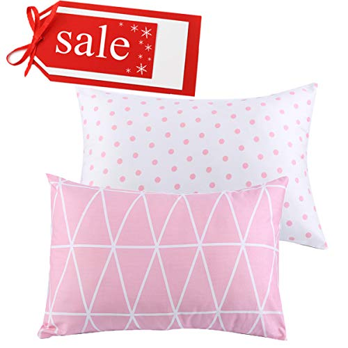 Kids Toddler Pillowcases UOMNY 2 Pack 100% Cotton Pillowslip Case Fits Pillows sizesd 13 x 18 or 12x 16 for Kids Bedding Pillow Cover Baby Pillow Cases Pink Link/Dot