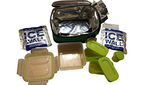 Expandable Lunch Pack Ultra Arctic Zone Plus 4 Containers with lids and 2 Ice Packs (lime green)
