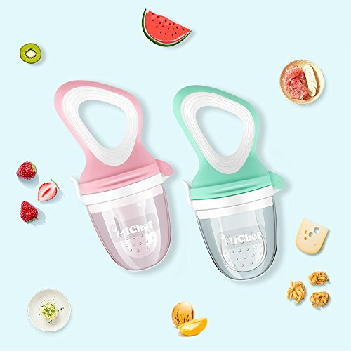 MICHEF Baby Food Feeder (3 Pack) - Baby Fresh Fruit Feeder Pacifier with 3 Different Sized Silicone Teething Pacifiers, Baby Fresh Food Feeder Feeding Teething Toys Teether by MICHEF (Image #5)
