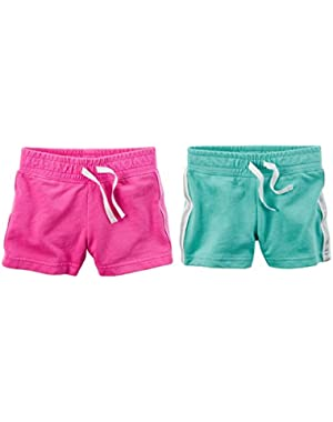 Baby Girls 2 Pack Pull-On French Terry Soft Shorts