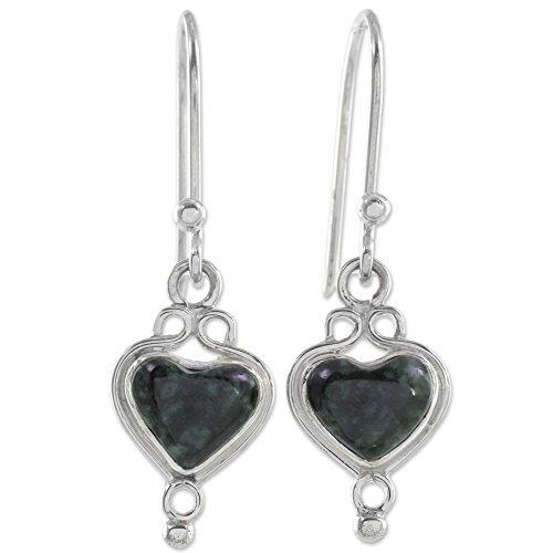 NOVICA Jade .925 Sterling Silver Dangle Earrings 'Heart of the Maya'