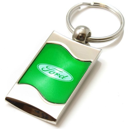 Premium Chrome Spun Wave Green Ford Oval Genuine Logo Key Chain Fob Ring