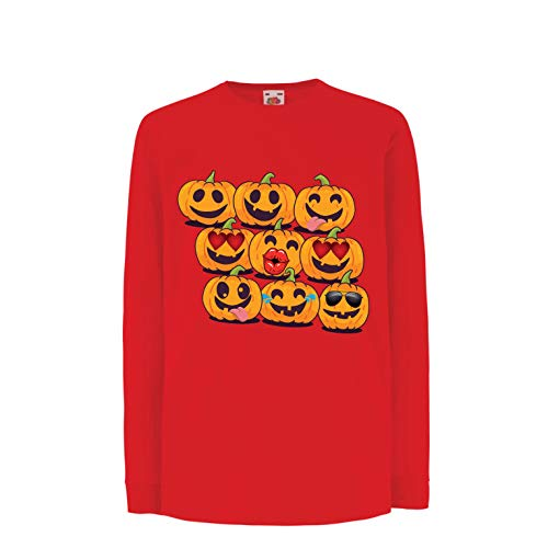 lepni.me Kids T-Shirt Pumpkin Emoji Funny Halloween Party Costume (12-13 Years Red Multi Color) -