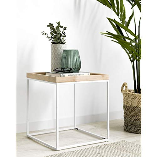 Kenay Home Mesita Tray, Roble y Blanca, 45x45x48cm: Amazon ...