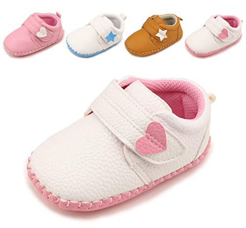 Cindear Newborn Baby Boys Girls Shoes Infant Soft Anti-Slip Sole Synthetic Leather Crib Shoes Flats Heart Velcro White-Pink 12-18 Months