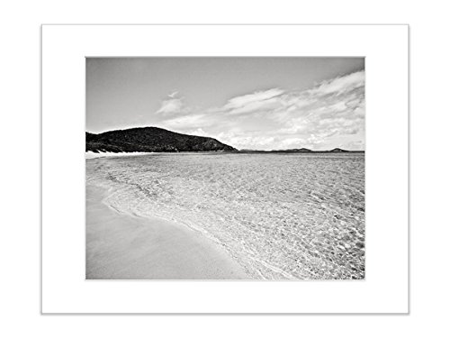 Black and White Coastal Beach Wall Decor 8x10 Inch Matted Photo Print by Catch A Star Fine Art Photography