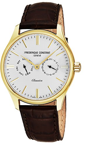 Frederique Constant Classics Quartz Stainless Steel Plated Yellow Gold Mens Watch - 40mm Analog White Face with Day Date and Sapphire Crystal - Brown Leather Band Swiss Dress Watch For Men FC-259ST5B5