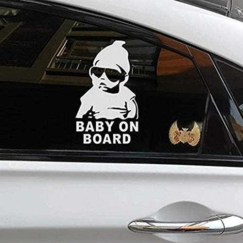 KND Baby on Board Vehicle car Decal Stickers The Hangover Baby car Sticker Decal Safety Caution Sign Funny Car Windows Laptop Viny Waterproof Reflective White - Vehicle Decal