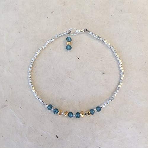 LOVEKUSH War6377 - Pulsera de cuarzo azul de la tribu Karen Hill tailandesa de plata y oro vermeil con cuentas, estilo Sundance, pulsera bohemio, pulsera de capas de 3-4 mm