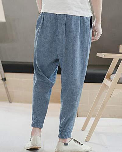 Hommes Pour Lin Et Pantalons Zongsena En Taille Pantalon Coton Grande Décontractés Léger Bleu IwqIX6FZ