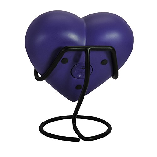Custom Brass Engraved Heart Pet Urn with Display Stand - Blueberry