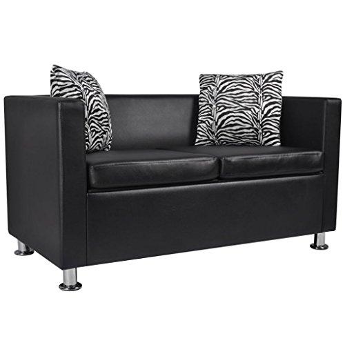 Amazon.com: Sofa 2-Seater Reclining Sofa Artificial Leather Black ...