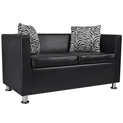 Amazon.com: vidaXL Modern Black Artificial Leather Sofa 2 ...