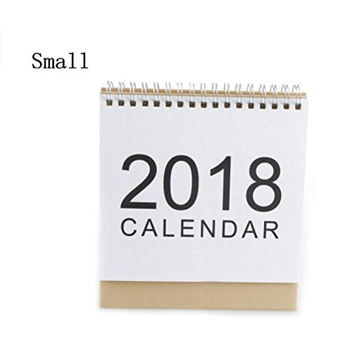 TUANTUAN 1 Pcs 2018 Calendar Simple Design Stand Up Desktop Paper Calendar Monthly Flip Desk Daily Scheduler Table Planner,Small