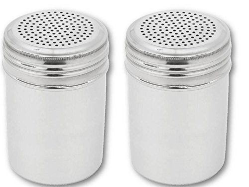 Great Credentials Stainless Steel Versatile Dredge Shaker, Salt, Sugar, Shakers 10 Oz. Each Set of 2 (Without Handle)
