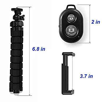 Tripsky Adjustable Mini Cell Phone Tripod,flexible Phone Tripod For Any Smartphone,iphone,with Universal Clip & Remote 2