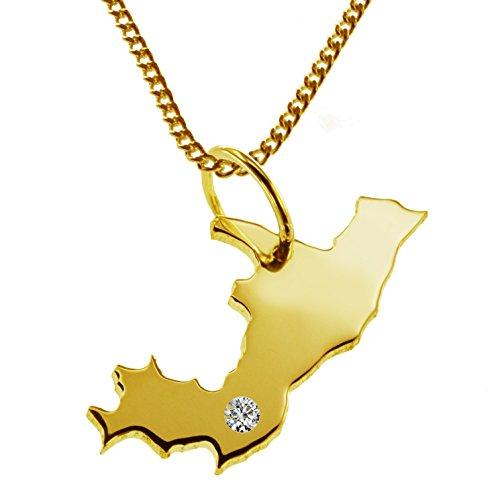 Endroit Exclusif Congo Carte Pendentif avec brillant à votre Désir (Position au choix.)-avec Chaîne-massif Or jaune de 585or, artisanat Allemande-585de bijoux