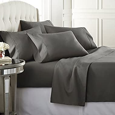 6 Piece Hotel Luxury Soft 1800 Series Premium Bed Sheets Set, Deep Pockets, Hypoallergenic, Wrinkle & Fade Resistant Bedding Set(King, Gray)