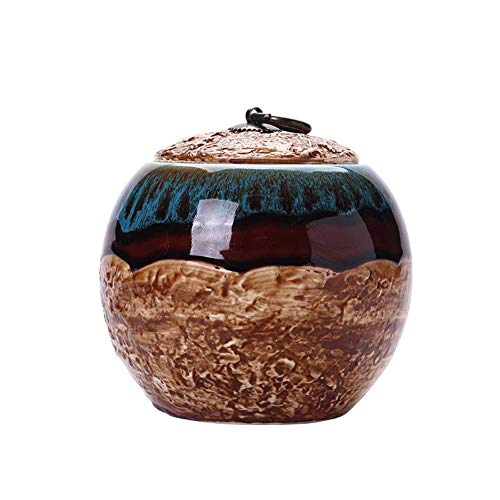 Jumedy 5 Inches Medium-Sized Funeral Urn, Beautiful Glaze Turned Blue - Sealed with Moisture-Proof Ash Storage, Giving You The Love of Him/her/it A Resting Place (Glaze Urn)