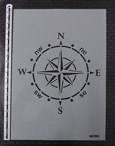 Stoffe Kompass Schablone gro/ß Nautisch malen Schablone f/ür W/ände M/öbel Wohndeko /& Basteln Schablone Motiv ist 37x37cm flexible wiederverwendbare Plastik