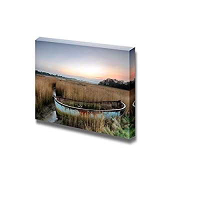 Rusty Old Abandoned Shipwrecked Boat in Reeds in The Backwaters of Poole Harbour in Dorset - Canvas Art Wall Art - 32