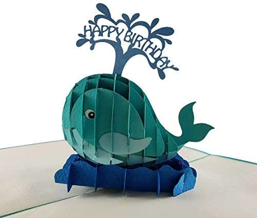 iGifts and Cards Blue Whale Happy Birthday 3D Pop up Greeting Card - Blowhole, Huge, Fun, Mammals, Ocean, Half-Fold, Birthday, Special Days, Congratulations, for Friendship, Husband, Wife, Mom, - 80 Origami