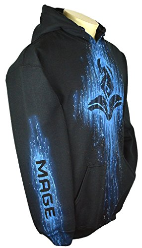 League Of Legends Hoodie Custom Airbrushed Mage Design, Pullover + Name, Adult, XL, Black