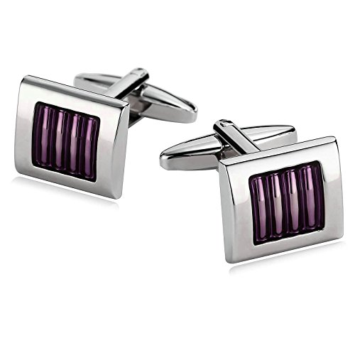 English Estate Square (Mens Cufflinks Stainless Steel Square Stripe Lines Epoxy Purple Cufflinks 1.3X1.5CM Xmas Gift Box Aooaz)