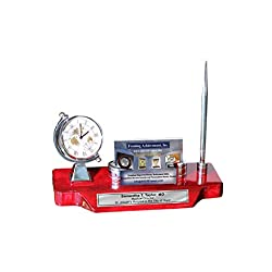 Spinning Globe Silver Desk Clock Engrave Name Plate Logo Business Card Holder Case Desktop Stand Display Pen Cherry Base Corporate Logo Retirement Graduation Employee Gift Award
