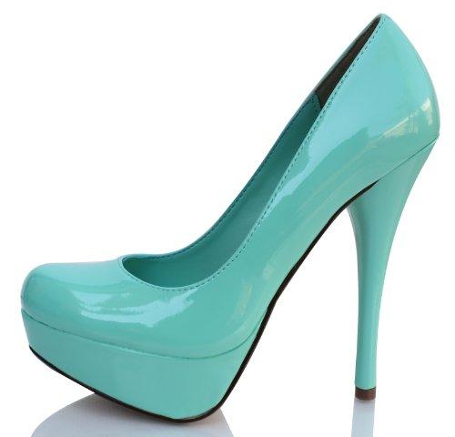 Light Green Faux Leather Patent Round Toe Platform High Heel Pumps Jones 75
