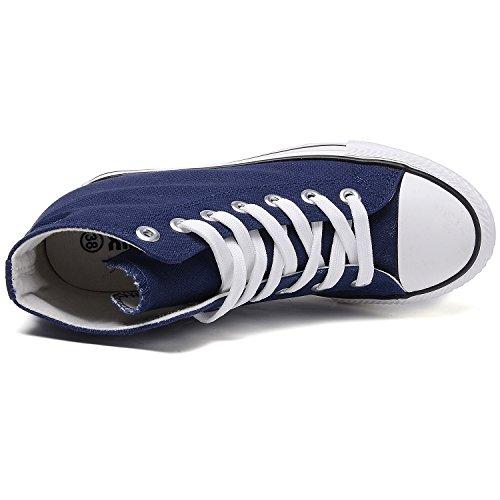 Scarpe Da Donna Con Tacco Alto In Tela Con Zeppa Nascoste Scarpe Con Tacco Alto Blu