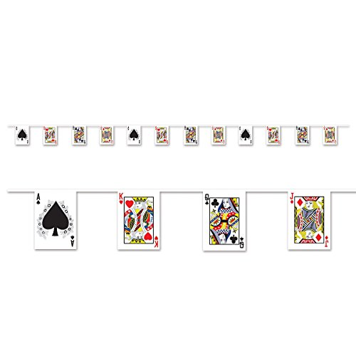 Club Pack of 12 Royal Flush Ace, King, Queen and Jack Playing Cards Pennant Banner 144