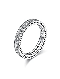 Keybella Clearance Rings,Women Transparent 925 Silver Rings Engagement Wedding Rings Jewelry Gift