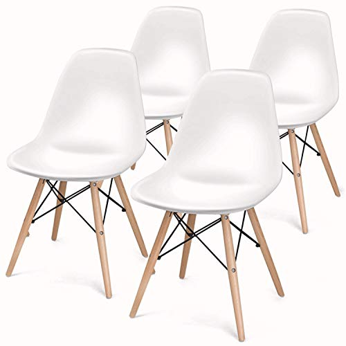 BUTII Set of 4 Retro Dining Chairs Mid Century Modern Durable PU Cushion with Solid Wooden Legs, Armless Chairs for for Kitchen, Dining, Bedroom, Living Room, White