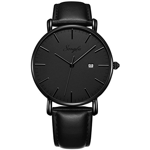 - Men's Black Ultra-Thin Analog Quartz Watch Date with Leather Strap/Stainless Steel Band