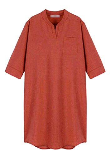 Coolred-femmes Manches Coude V-cou Droit Grandes Poches Milieu Taille Motif1 Robe Midi