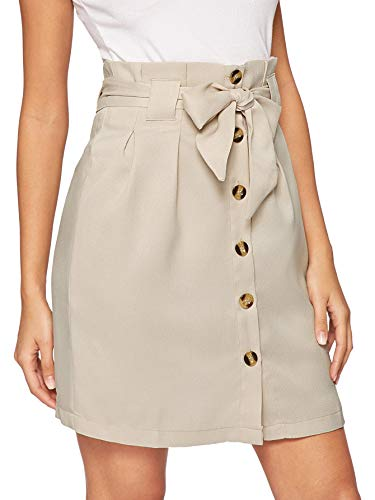 WDIRARA Women's Casual Bow Tie Waist Button Up Mini Short Skirt Khaki S