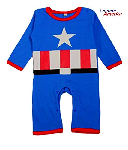 [BABY SUPERHERO Long Sleeves Pajama/ Romper (0-6 Months, Captain America)] (Captain America 2 Costume For Kids)