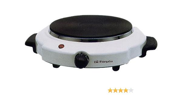 Orbegozo PE2611 - Hornillo eléctrico, 1500 W, 1 placa, 185 mm de diámetro, indicador luminoso, termostato regulable, color blanco