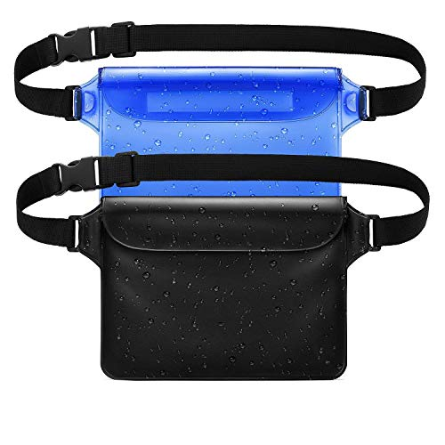 WJZXTEK Waterproof Pouch with Waist Strap (2 Pack) Best Way to Keep Your Phone and Valuables Safe and Dry Perfect for Boating Swimming Snorkeling Kayaking Beach Pool Water Parks (Ocean Blue + Black)