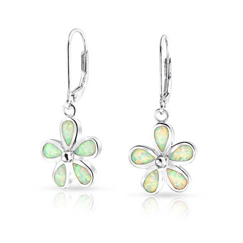 - Flower Created White Opal Plumeria Drop Leverback Earrings For Women 925 Sterling Silver